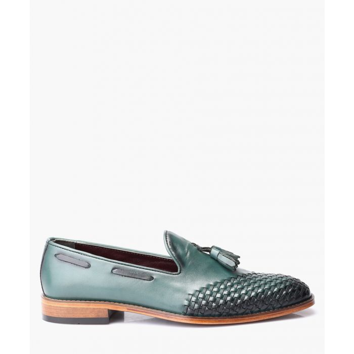 Image for Green leather loafers