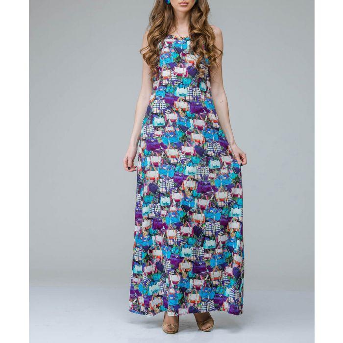 Image for Blue & violet silk blend printed dress