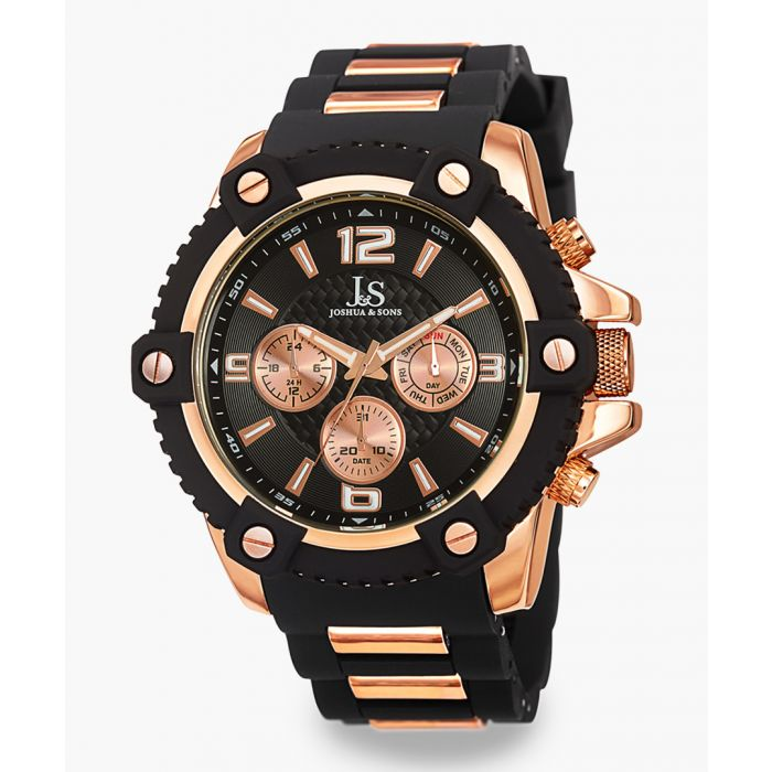 Image for Rose gold-tone and black silicone chronograph watch