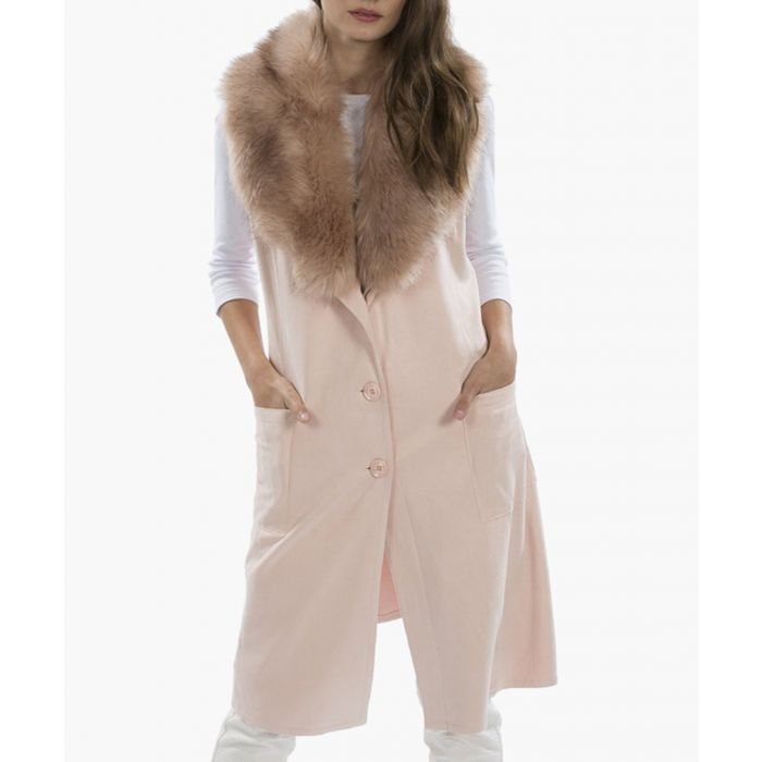 Image for Pink faux fur suede gilet