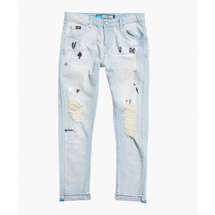 Image for Riley blue cotton blend girlfriend jeans