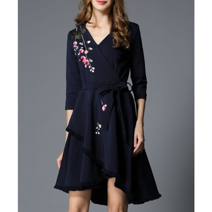 Image for Navy floral embroidered wrap dress