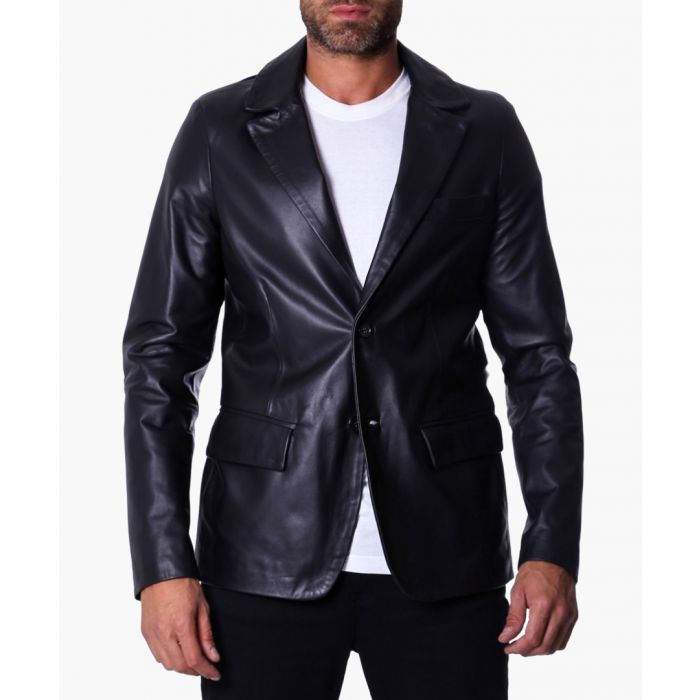 Image for Black leather two-button blazer