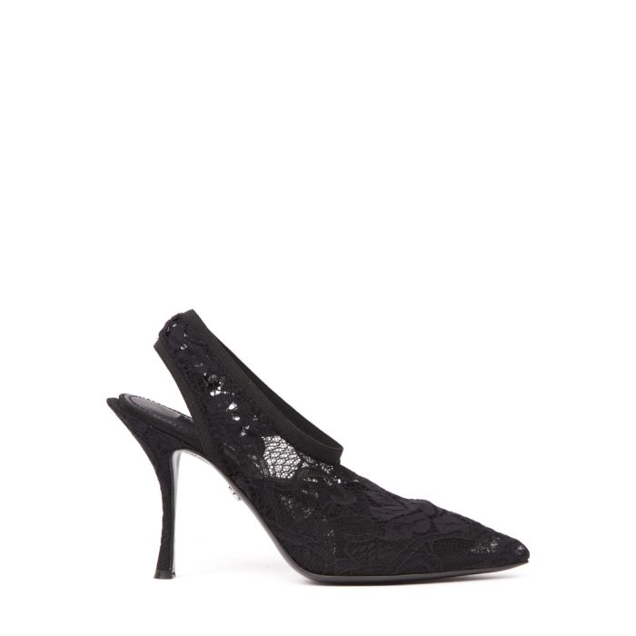 Image for Black lace slingback heels