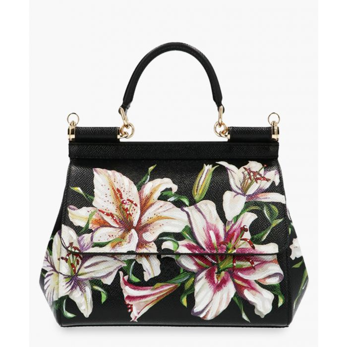 Image for Sicily black leather floral print small tote