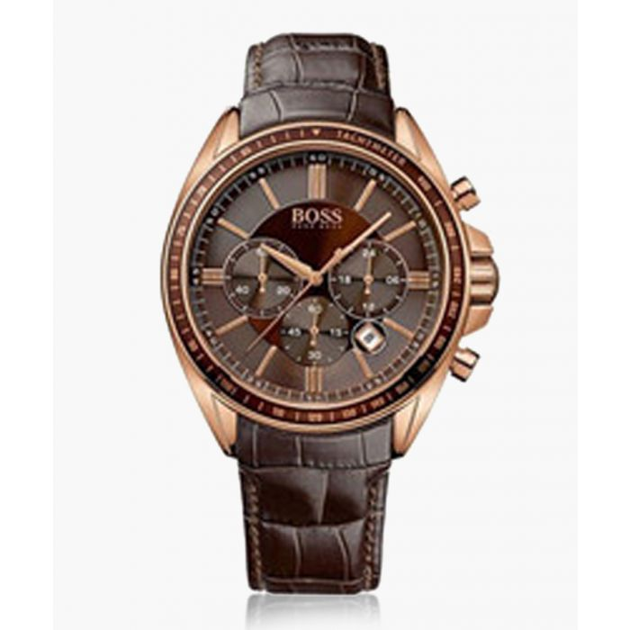 Image for Brown and rose gold-tone leather watch
