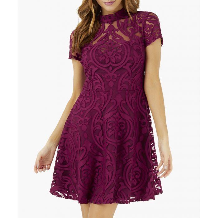 Image for Berry burnout skater dress