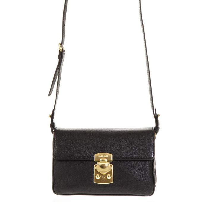 Image for Black leather gold-tone clasp crossbody