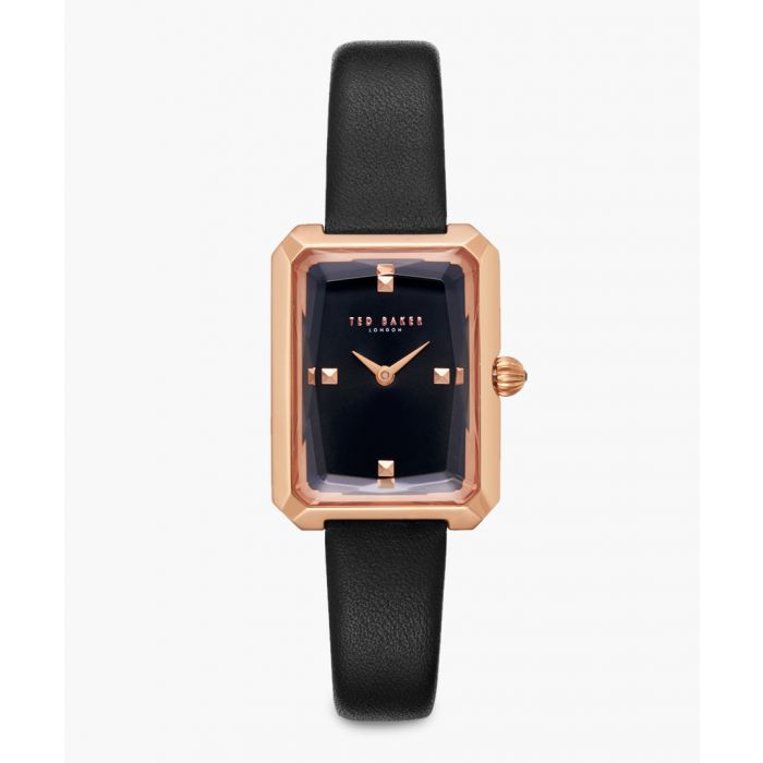 Image for Cara black leather and stainless steel watch