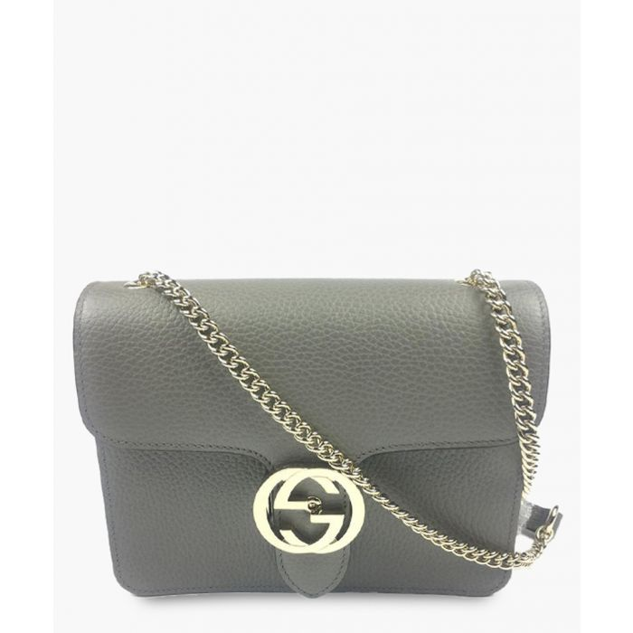 Image for Grey leather interlocking GG shoulder bag