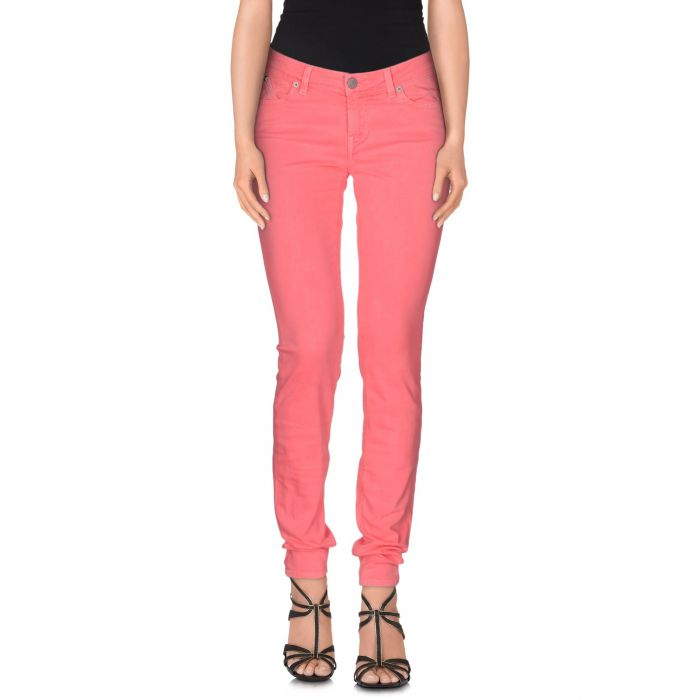 Image for Pink cotton denim mid-rise trousers