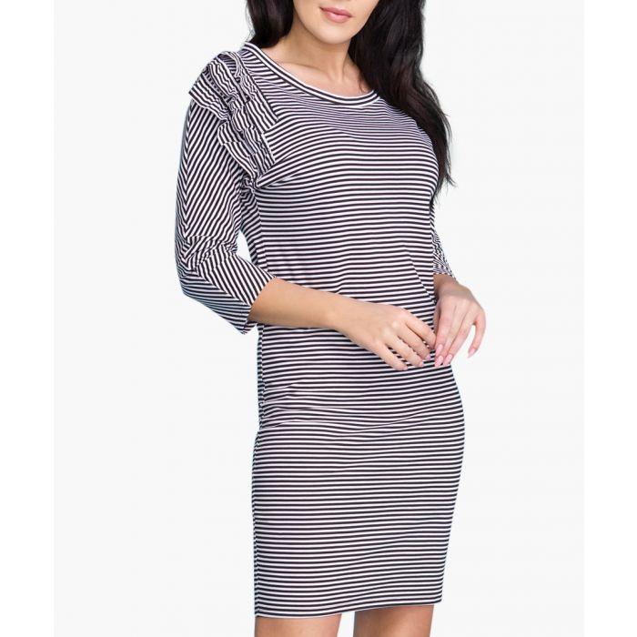 Image for Black cotton blend stripe dress