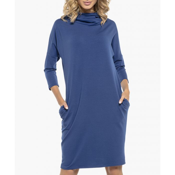 Image for Cornflower cotton blend dress