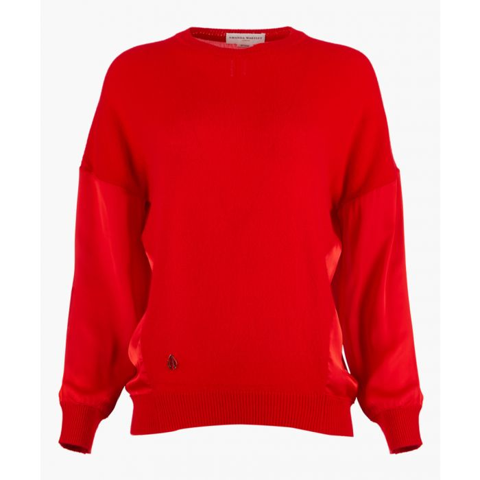 Image for Red cashmere blend knit top