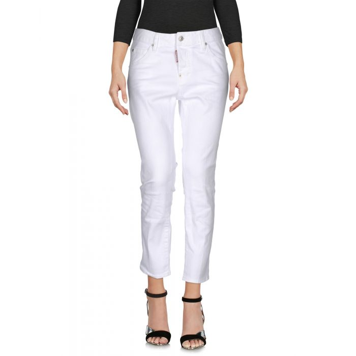 Image for White cotton denim trousers