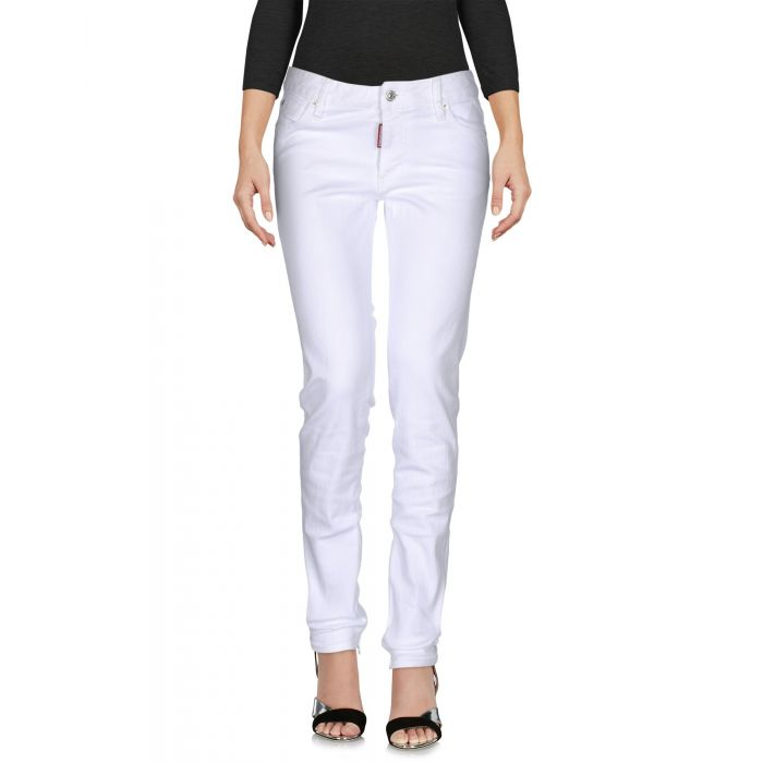 Image for White mid-rise stretch jeans