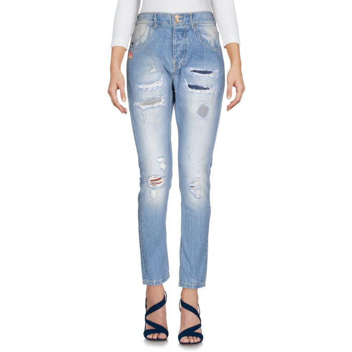 Image for Blue pure cotton denim high-rise trousers