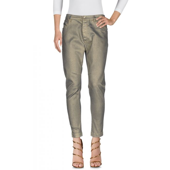 Image for Gold-tone cotton blend high-rise denim trousers