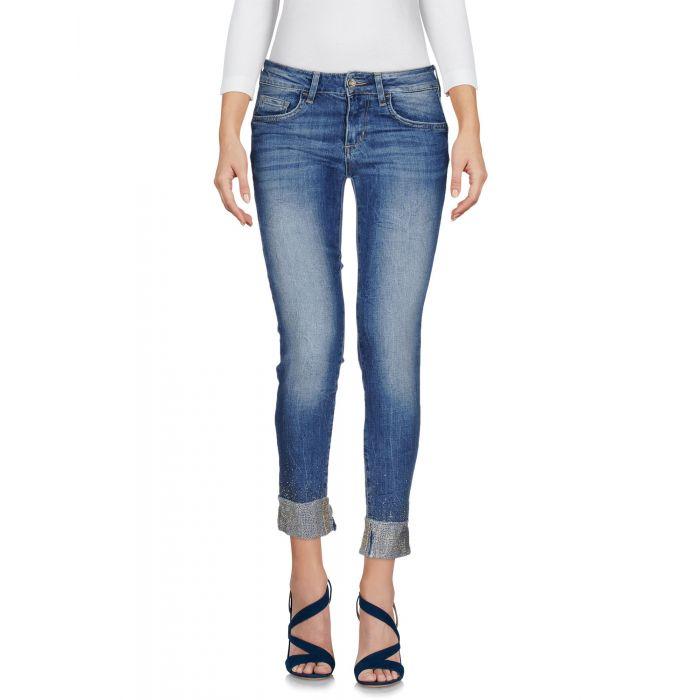 Image for Blue cotton denim capri pants