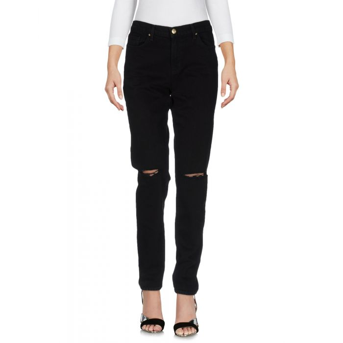 Image for Black cotton denim mid-rise trousers