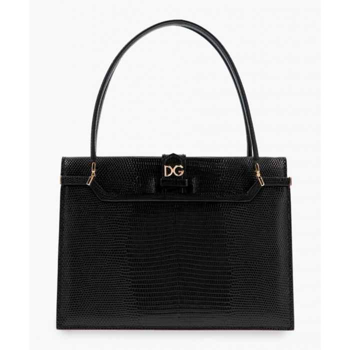 Image for Ingrid black leather iguana print tote