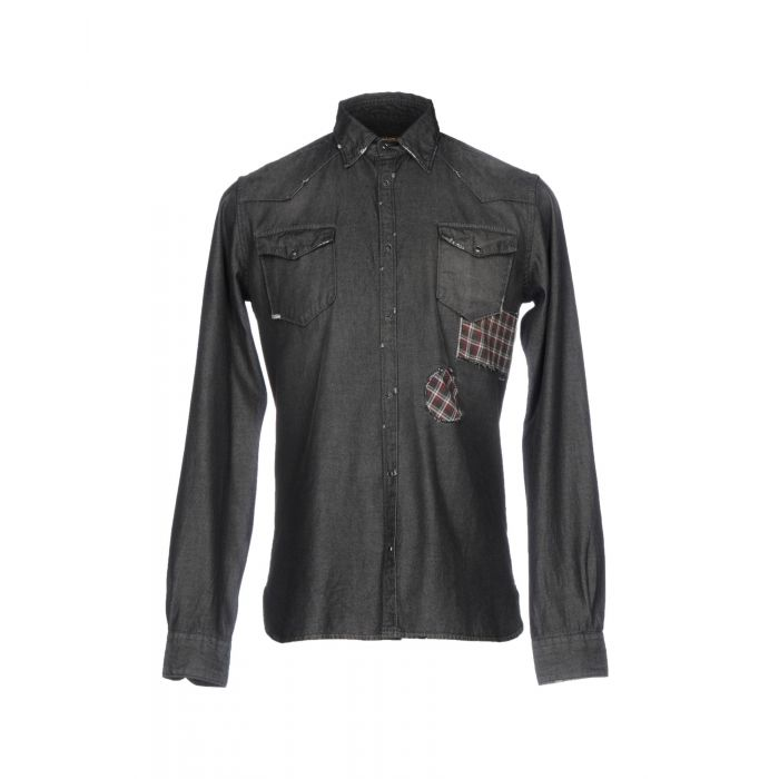 Image for Steel grey distressed denim shirt