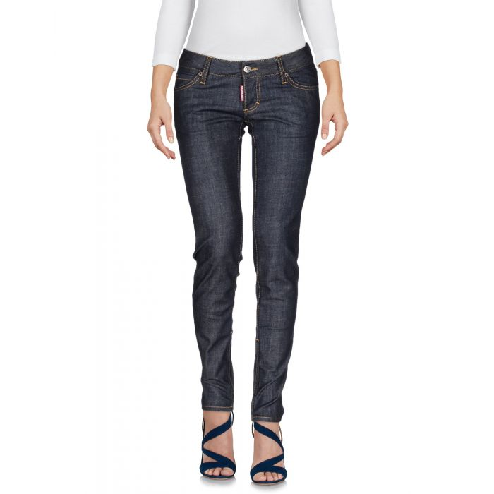 Image for Blue cotton dark wash mid-rise trousers