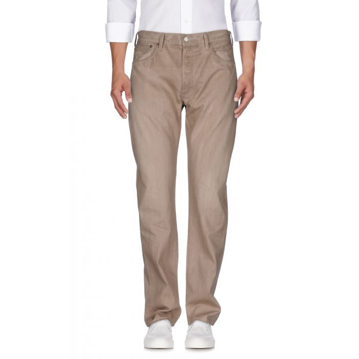 Image for Beige pure cotton denim mid-rise trousers