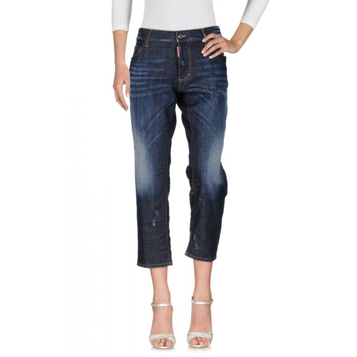 Image for Blue mid-rise distressed stretch cropped jeans