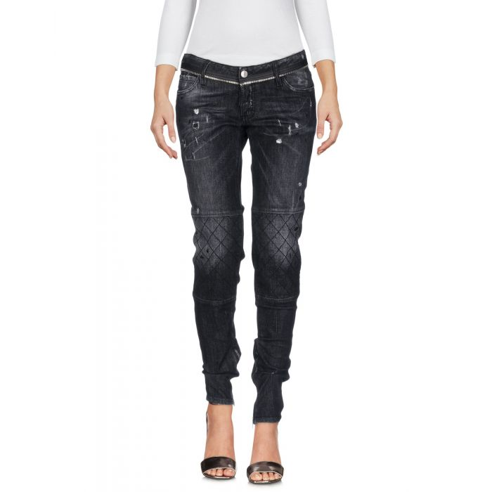 Image for Black denim fade-effect jeans