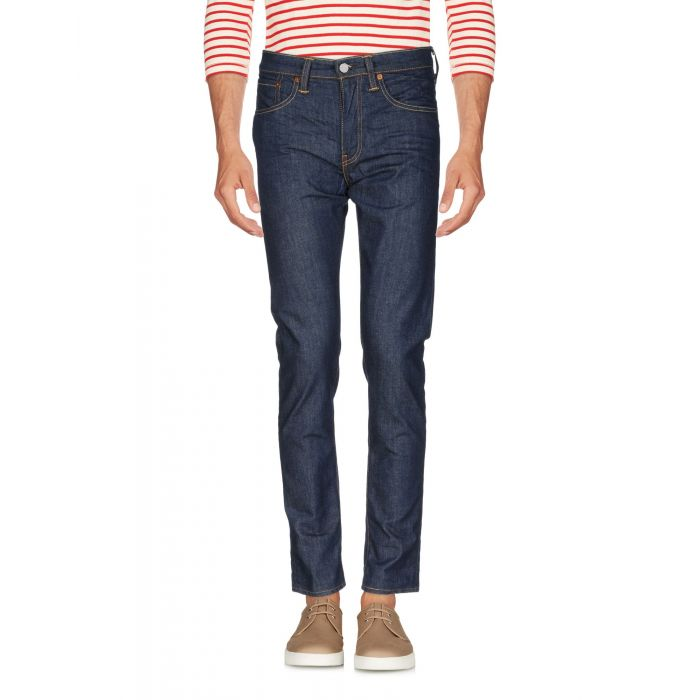 Image for Blue cotton denim mid-rise trousers
