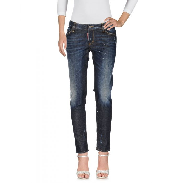 Image for Blue low-rise faded effect stretch jeans