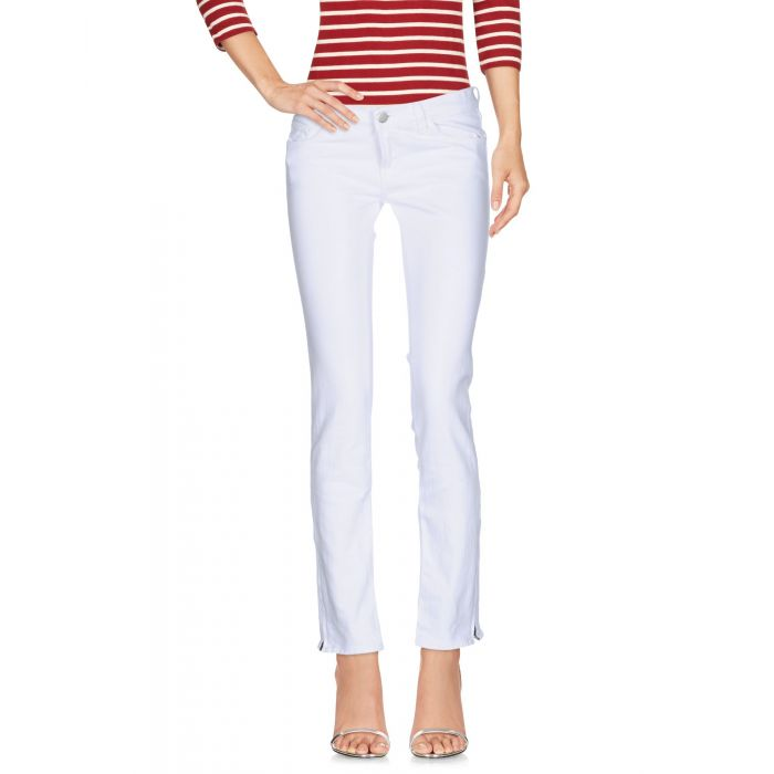 Image for White cotton denim low-rise trousers