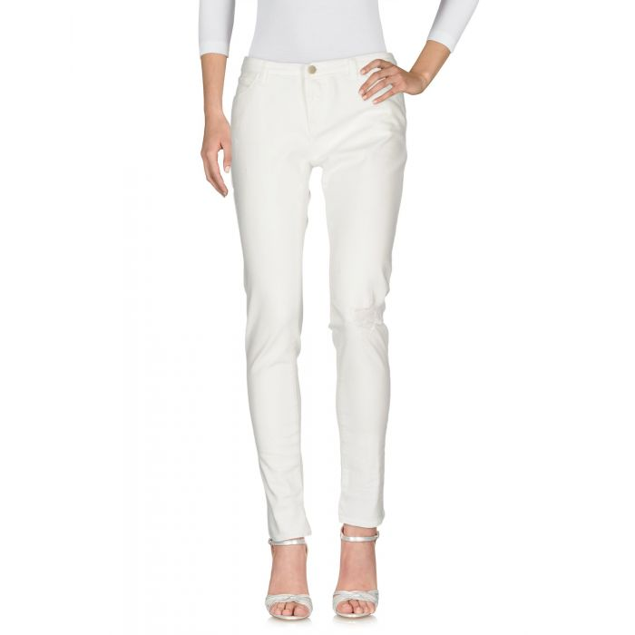 Image for White low-rise distressed slim jeans