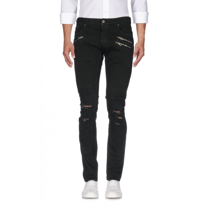 Image for White and black cotton denim mid-rise trousers