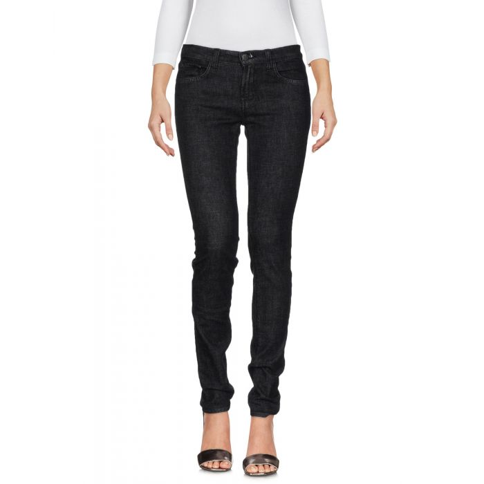 Image for Black cotton denim low-rise trousers