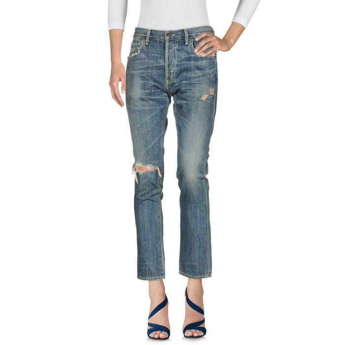 Image for Blue pure cotton ripped denim jeans