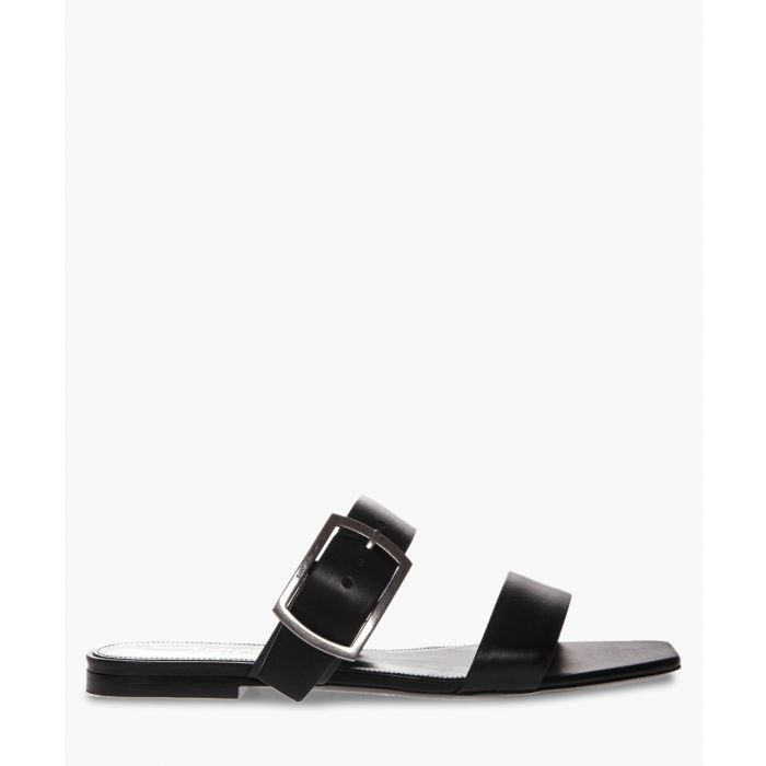 Image for Black leather double strap sandals