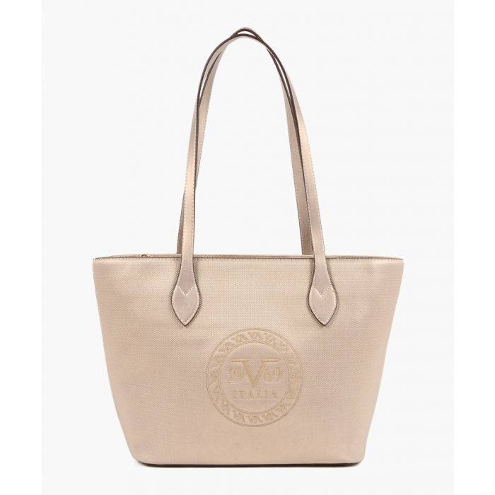 Image for Gold-tone embossed faux leather shopper