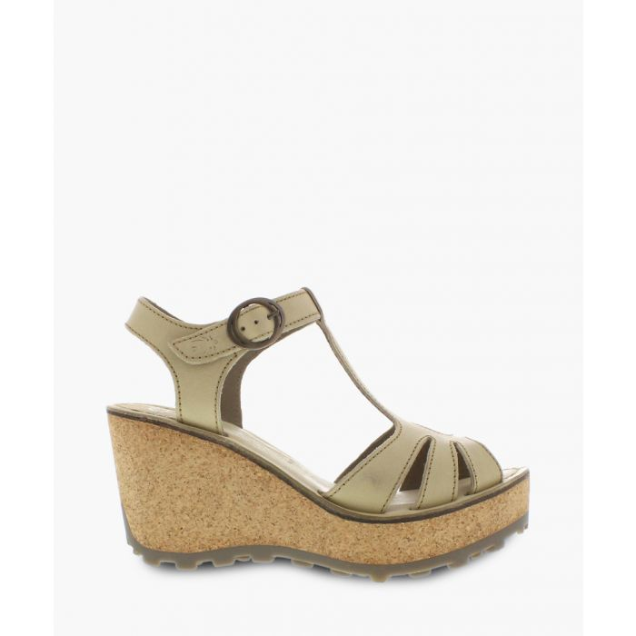 Image for Cream leather wedge sandals