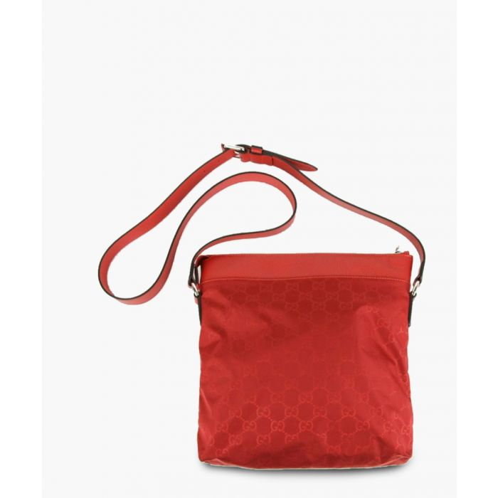 Image for Red nylon GG print and leather messenger