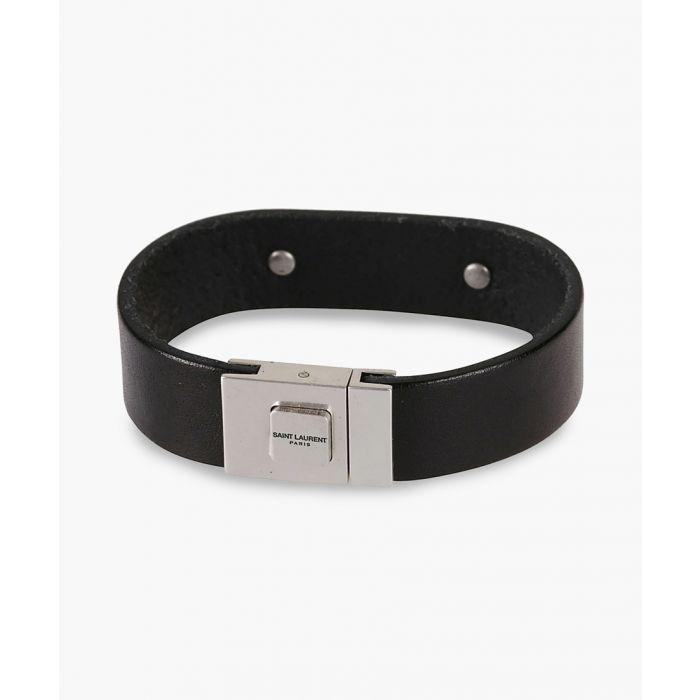 Image for Black leather logo plaque bracelet