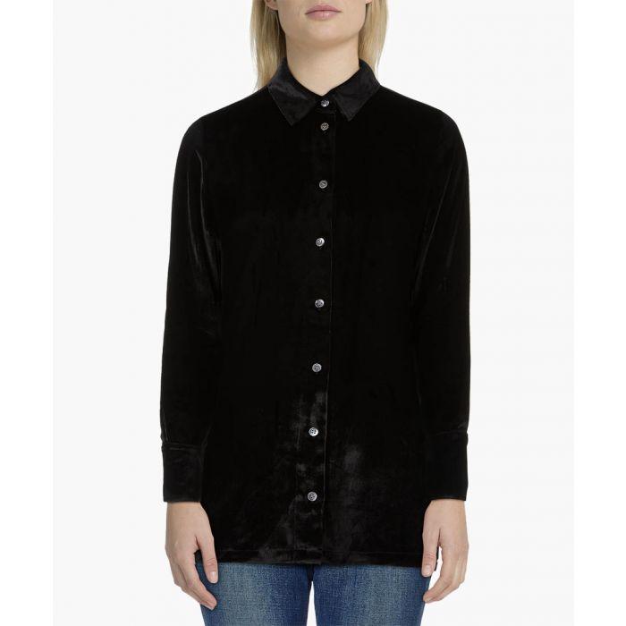 Image for Nora black silk-blend shirt
