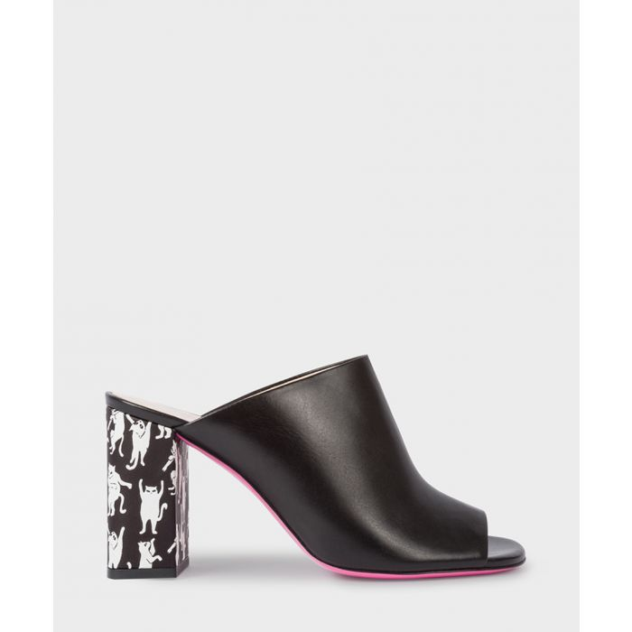 Image for Black leather block heeled mules