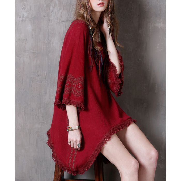 Image for Dark red cotton & linen fringe dress