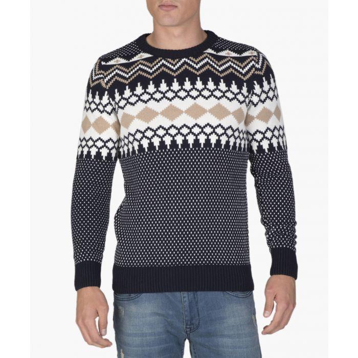 Image for Navy blue and beige wool blend patterned jumper