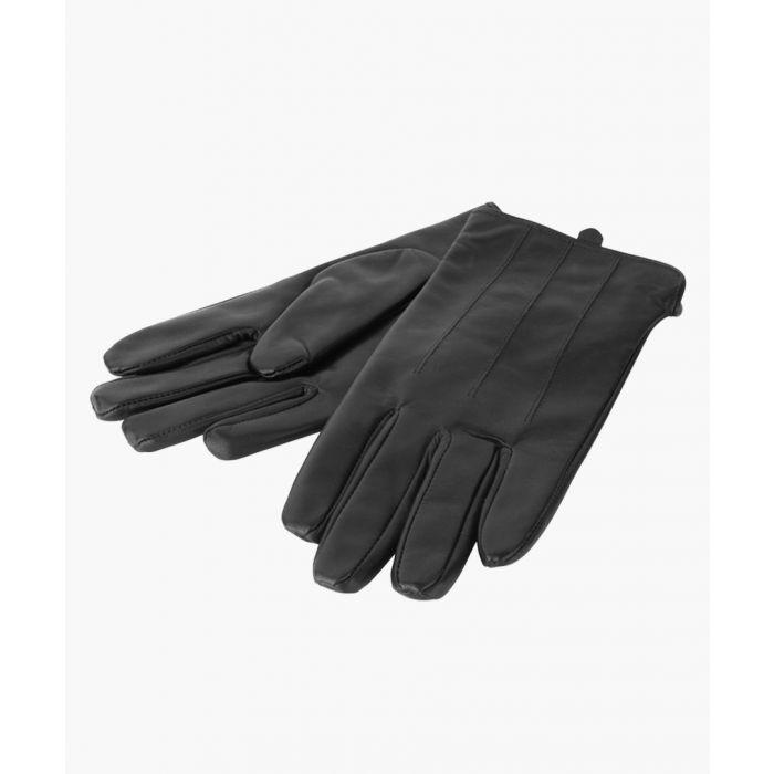 Image for Brown Stud Fasten Strap Leather Gloves