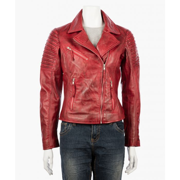 Image for Womens asymmetric red biker jacket