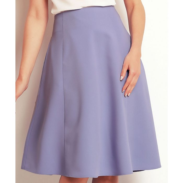 Image for Light blue flared knee-length skirt