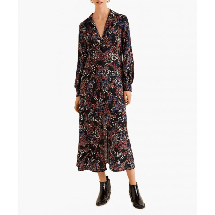 Image for Dark navy flower print dress